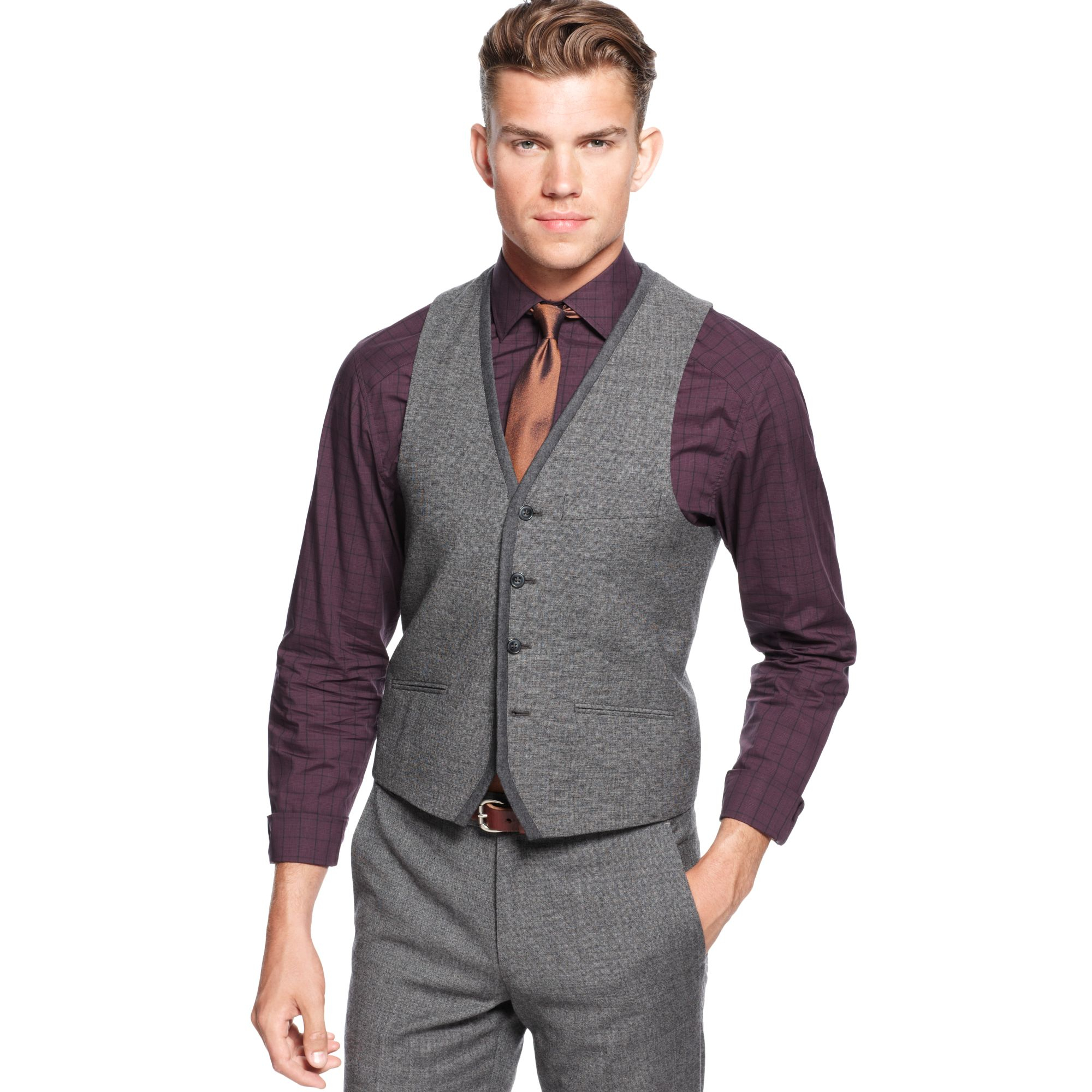 Vince Camuto Notch Grey Vest In Gray For Men Grey Lyst