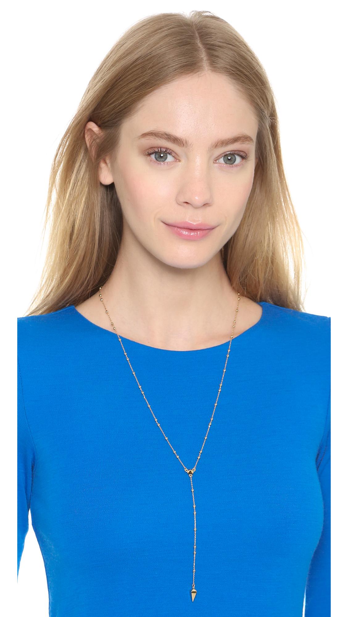 Lyst - Rebecca minkoff Beaded Y Necklace in Metallic