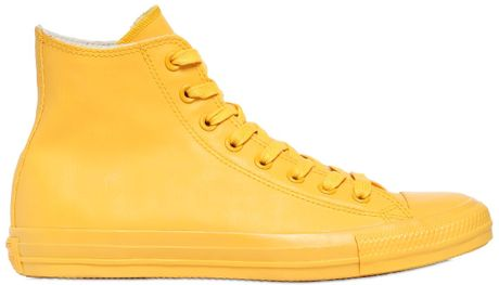 Converse All Star Rubber High Top Sneakers In Yellow For