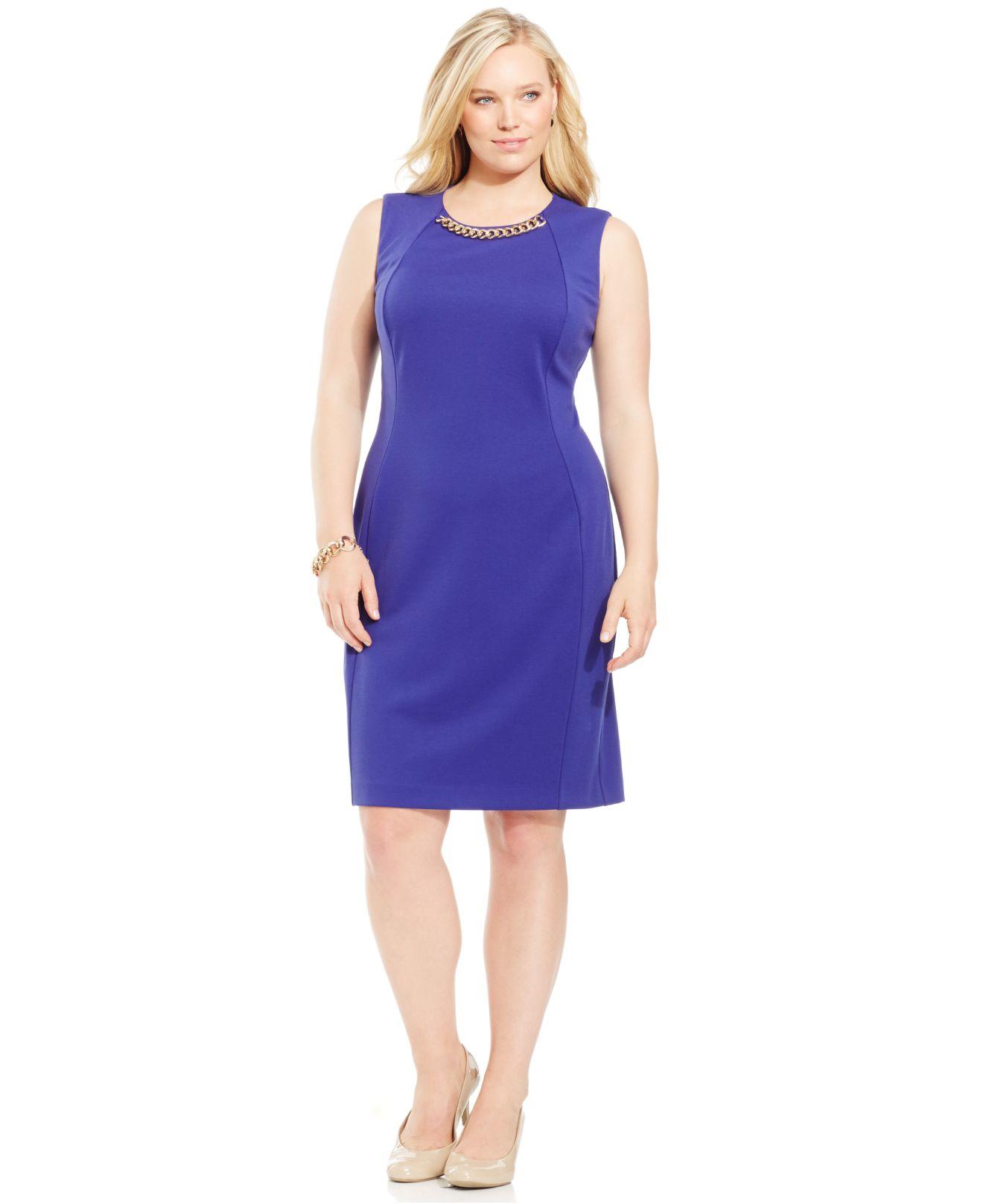 714dd81c946 Lyst - Calvin Klein Plus Size Chain-link Sheath Dress in Blue