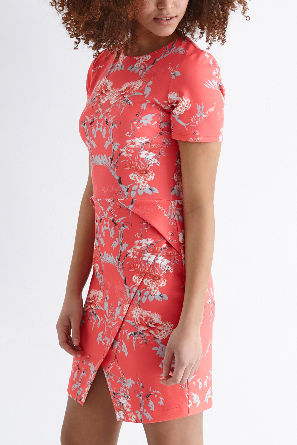 Lyst Oasis Sketch Botanical Wrap Dress In Pink