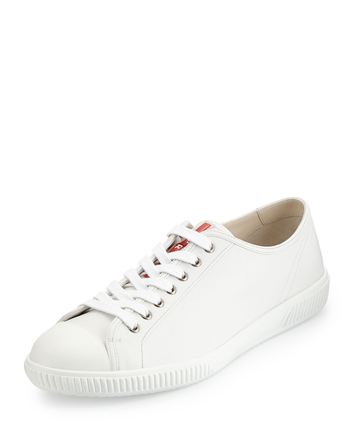 e233b003 ... sweden lyst prada cap toe low top sneaker in white for men d460f fdb66