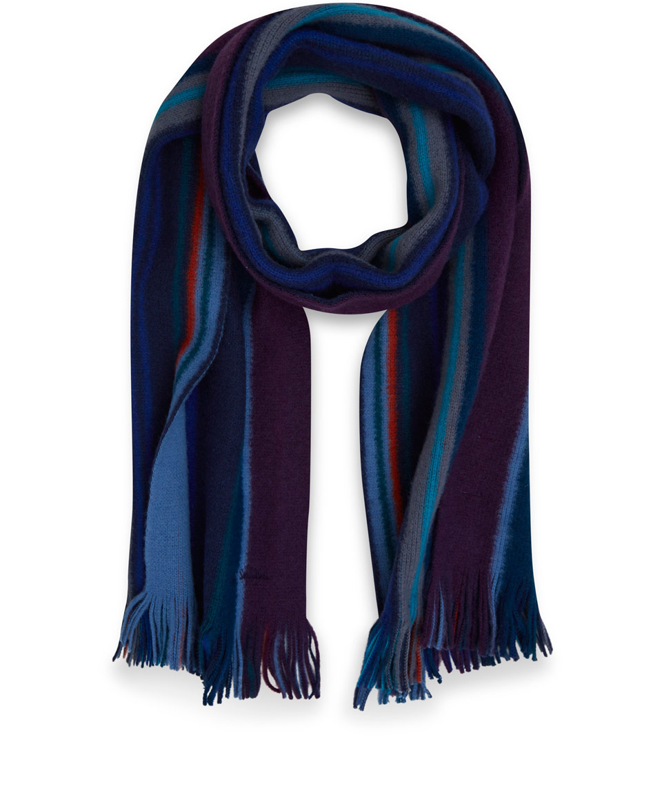 paul smith blue stripe print wool scarf in blue for lyst