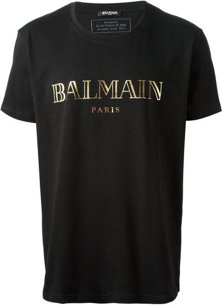 Balmain logo print tshirt in black for men lyst for Balmain white logo t shirt