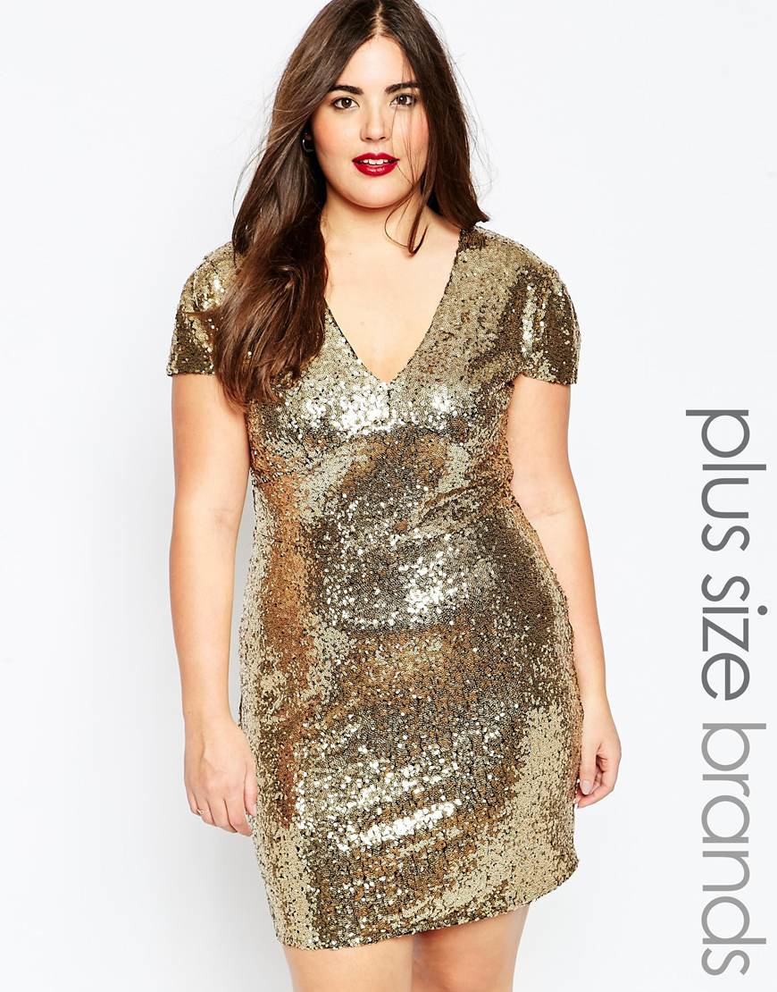 Club L Plus Size Sequin Dress With V Neck in Metallic - Lyst