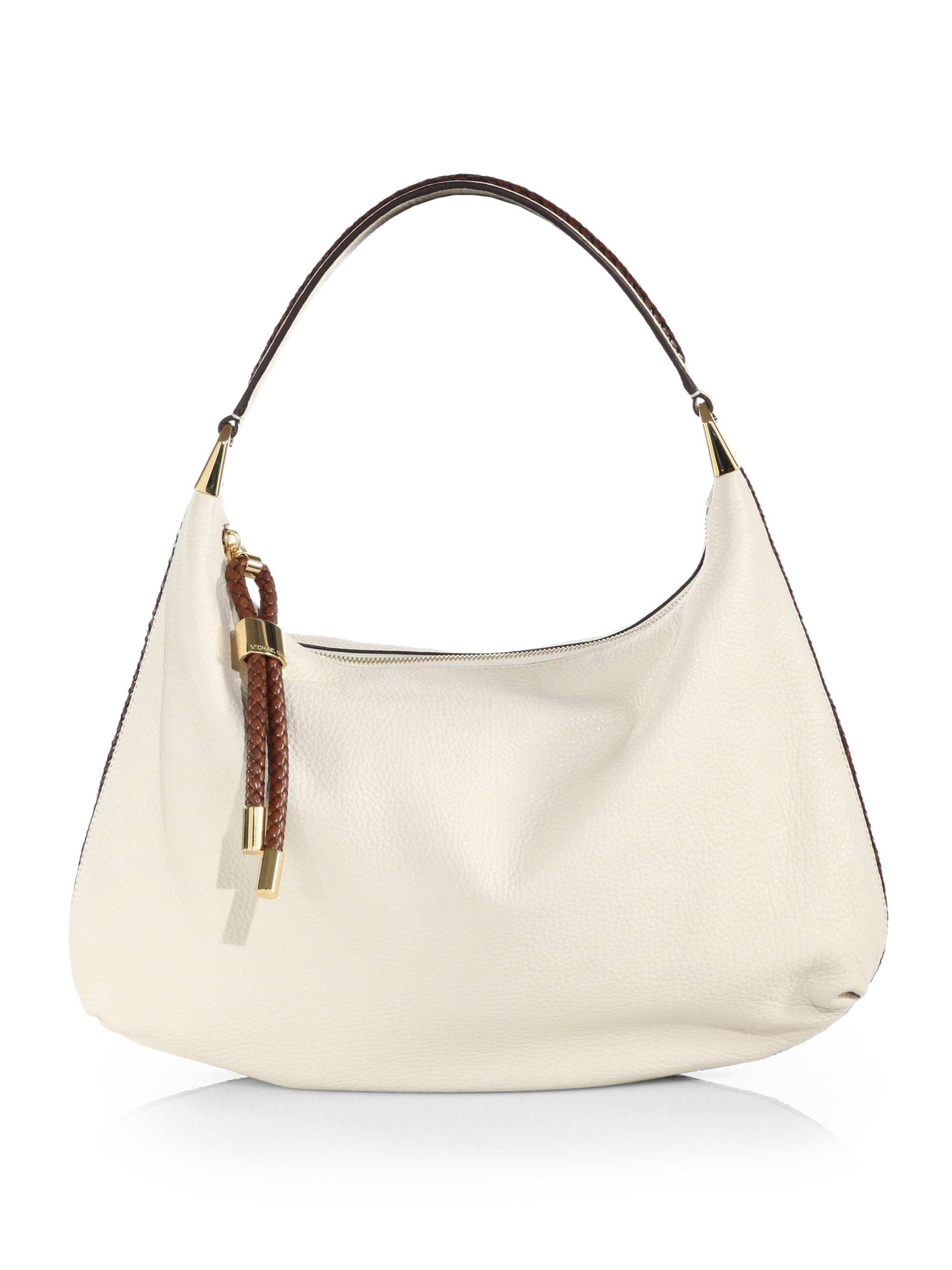 Michael kors Skorpios Large Braid-Trimmed Hobo Bag in White | Lyst