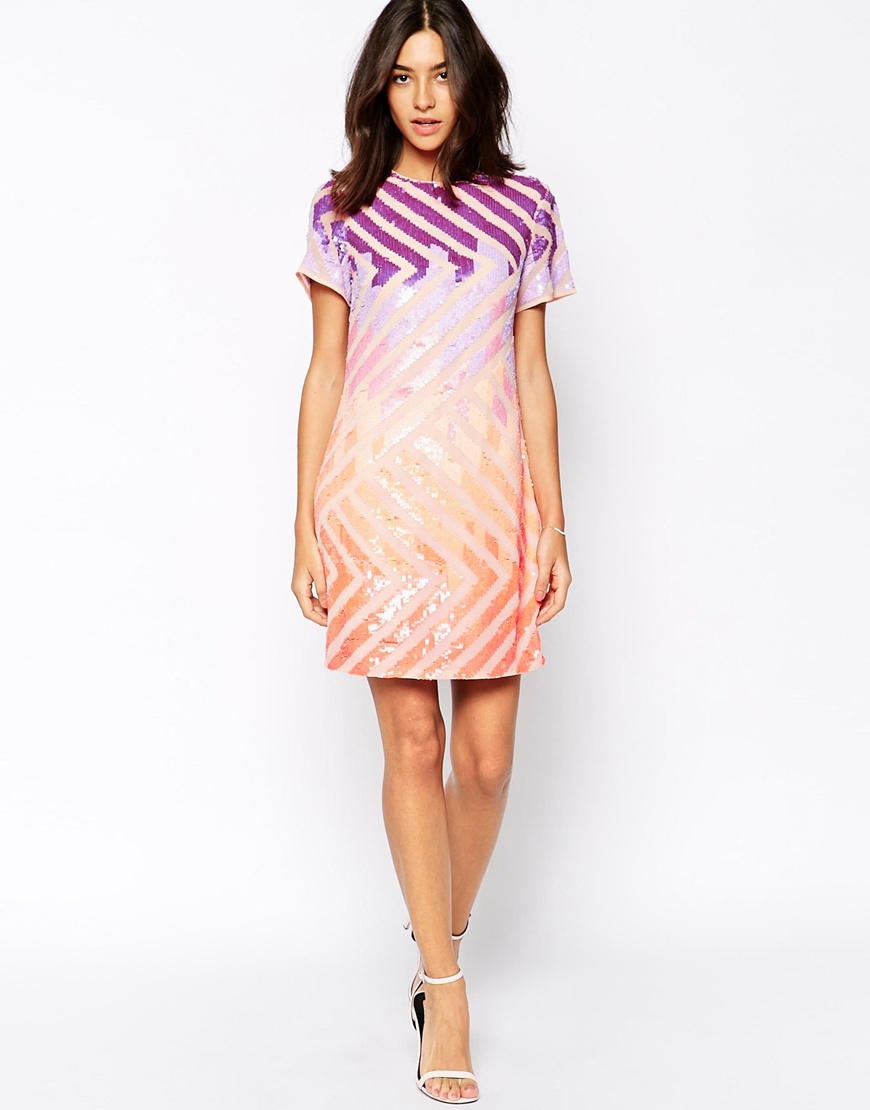 Lyst warehouse colourful sequin t shirt dress gallery ombrellifo Choice Image