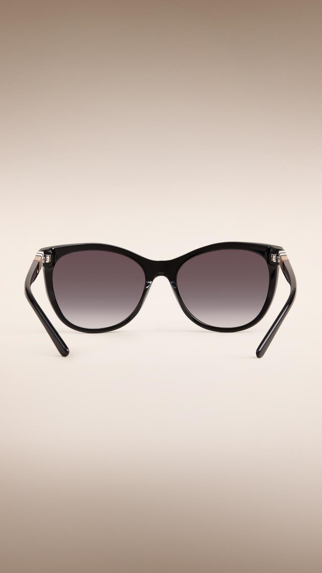 ab9ec3e78e3 Lyst - Burberry Check Detail Cat-eye Sunglasses Black in Black