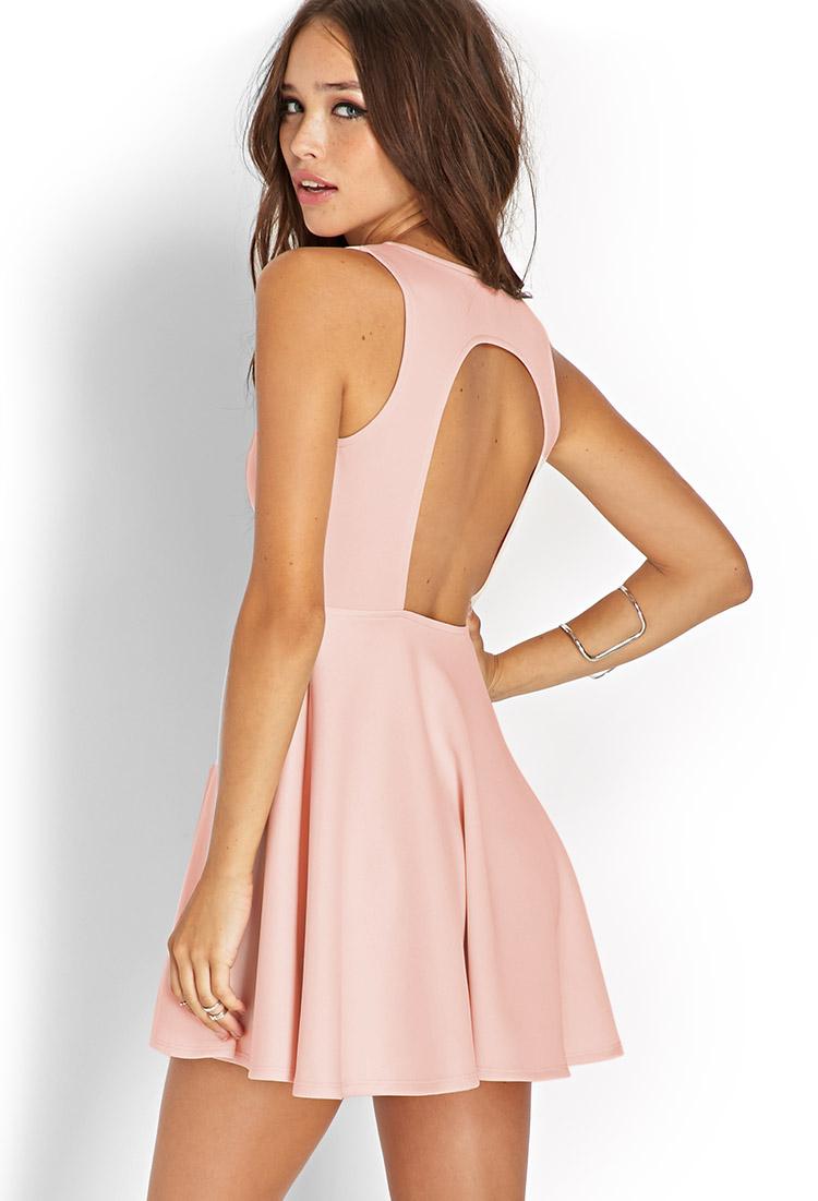 0f672dcd5c Forever 21 Dynamite Scuba Knit Skater Dress in Pink - Lyst