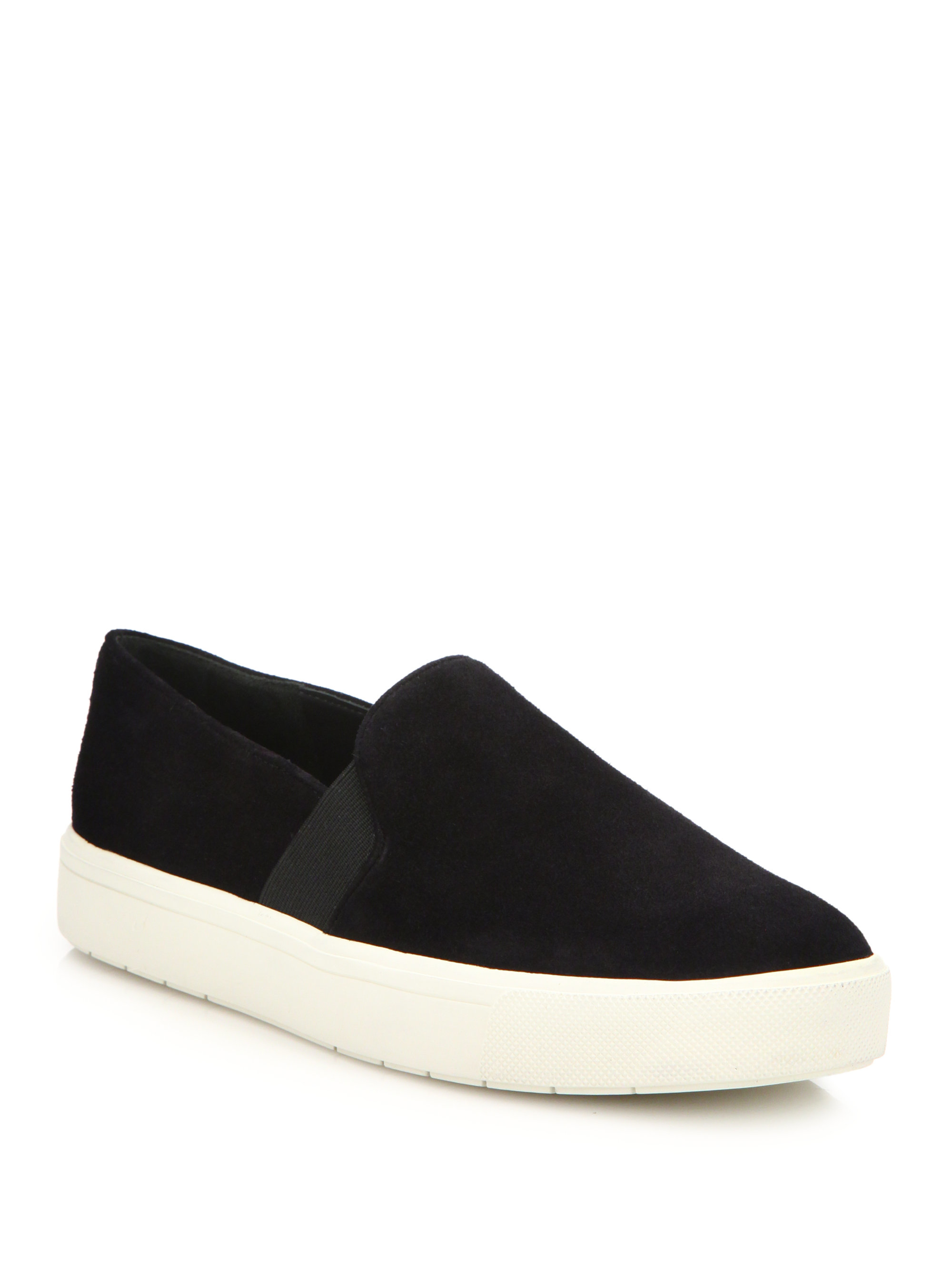 Vince Berlin Suede Slip On Sneakers In Black Lyst