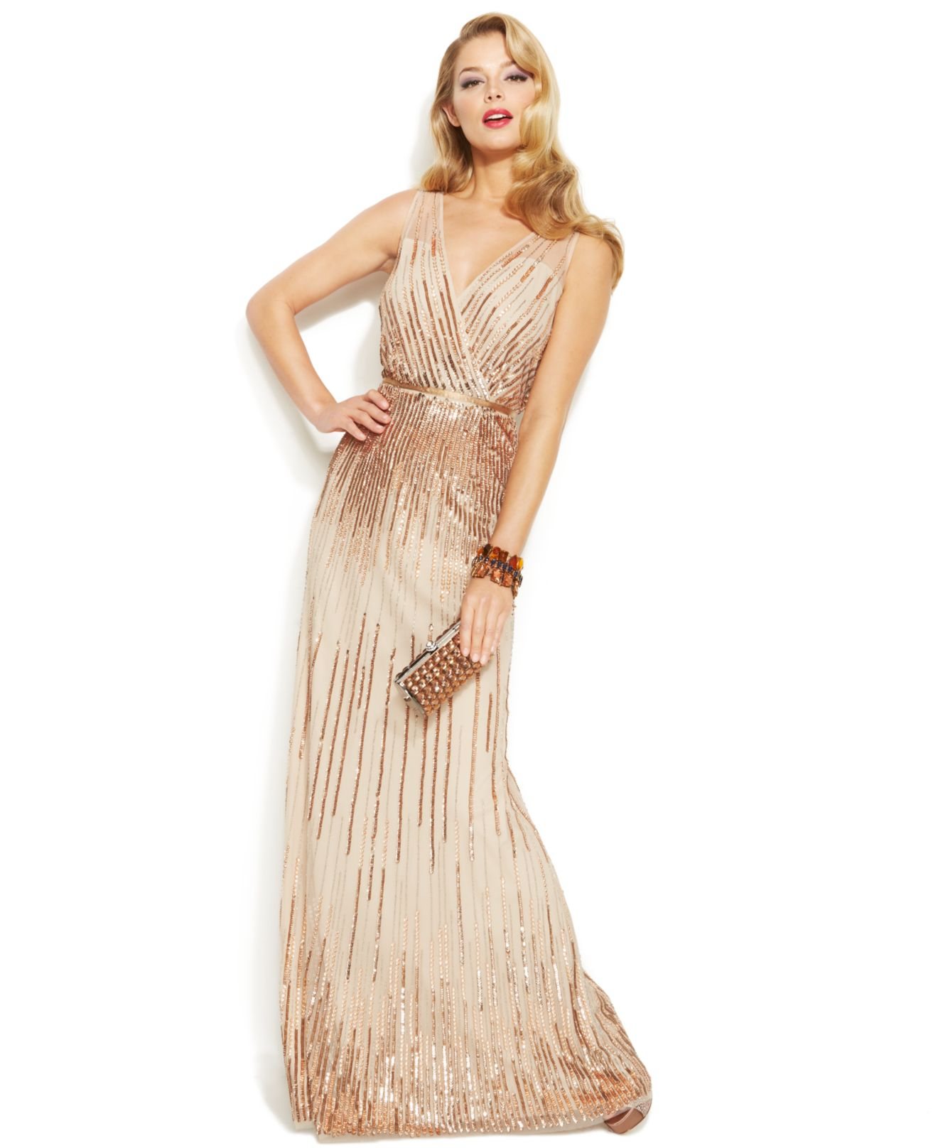 Lyst Adrianna Papell Sleeveless Sequin Illusion Gown In