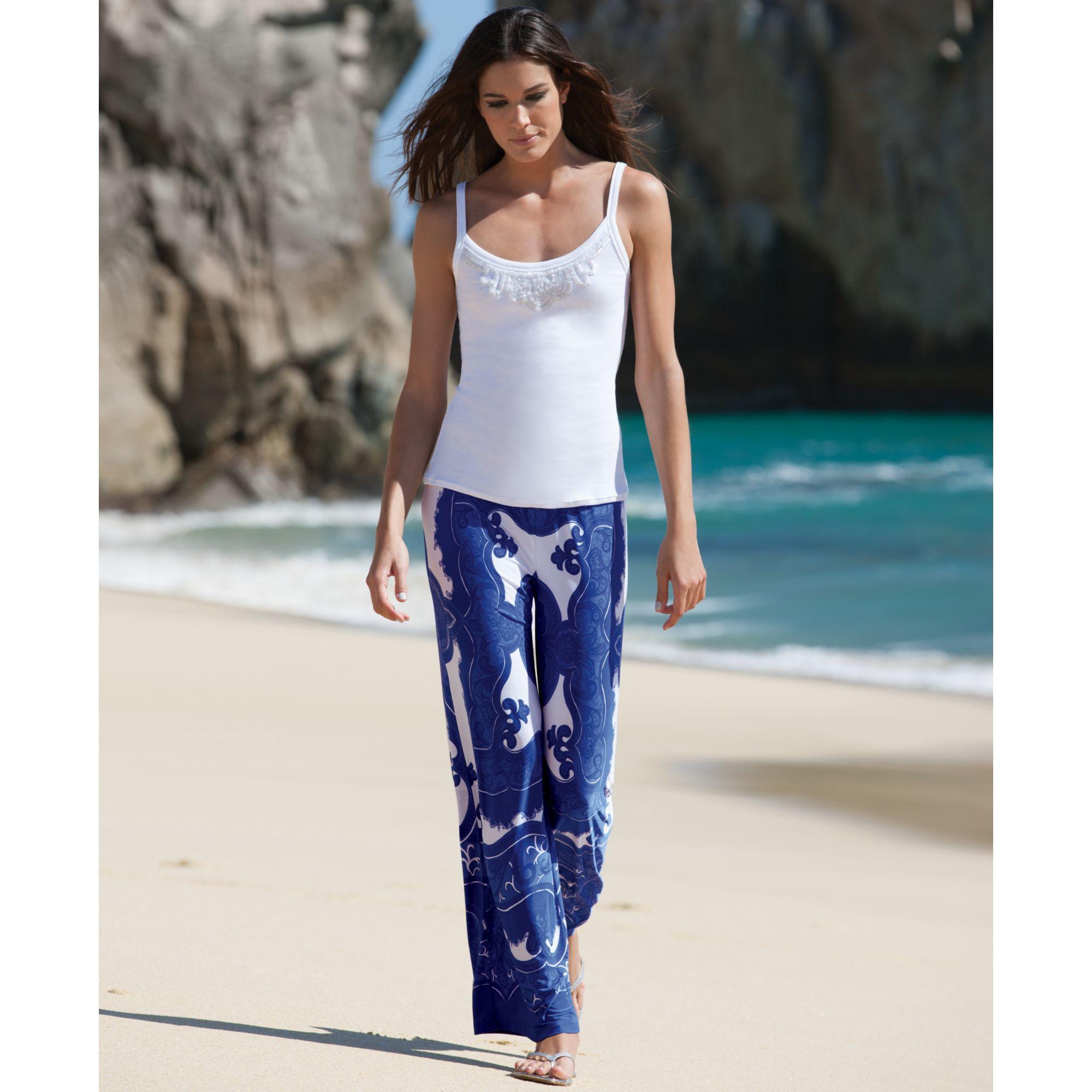 Inc international concepts Wideleg Printed Soft Pants | Lyst