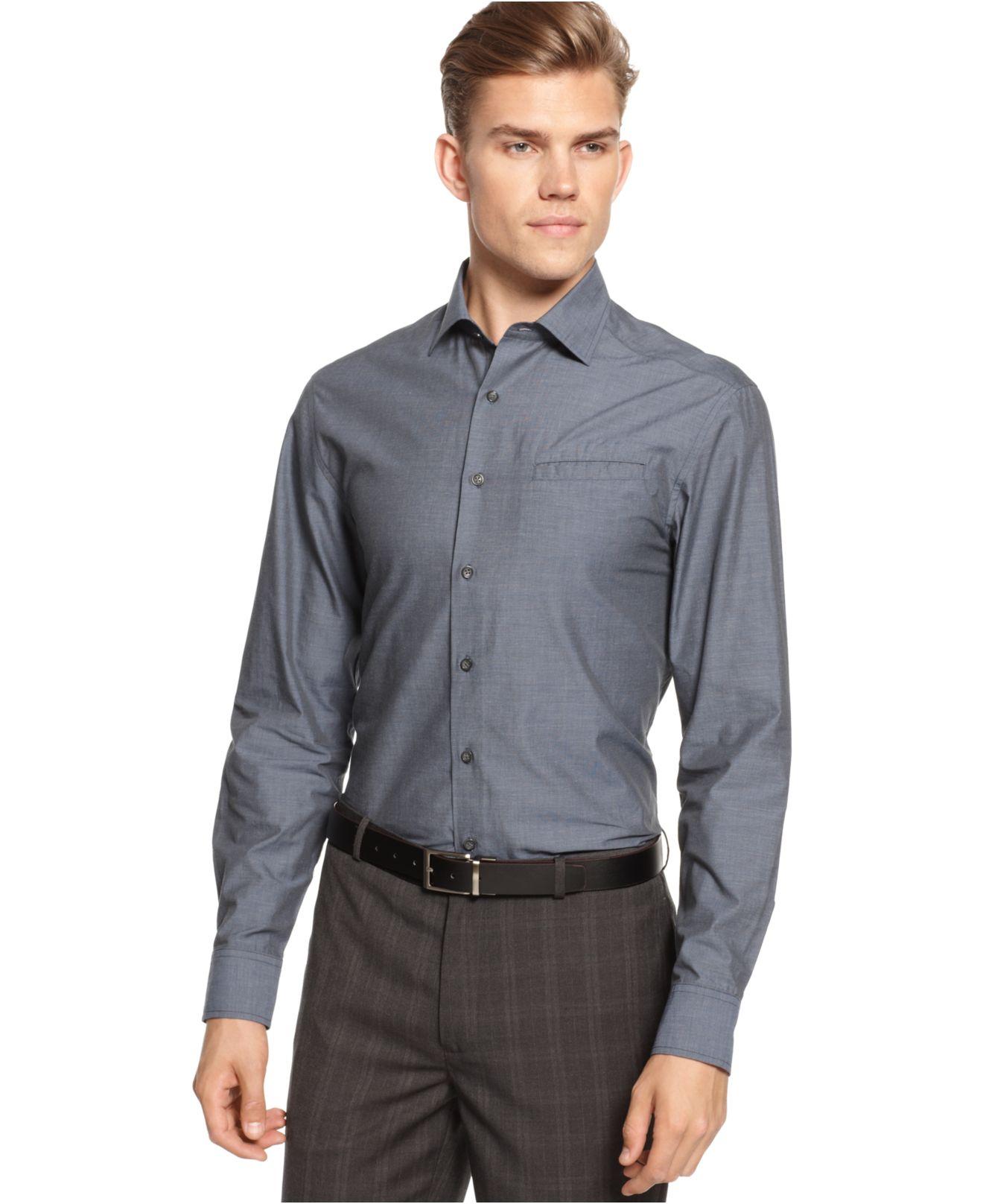 Lyst Vince Camuto Slim Fit Hacking Pocket Dress Shirt In Blue For Men