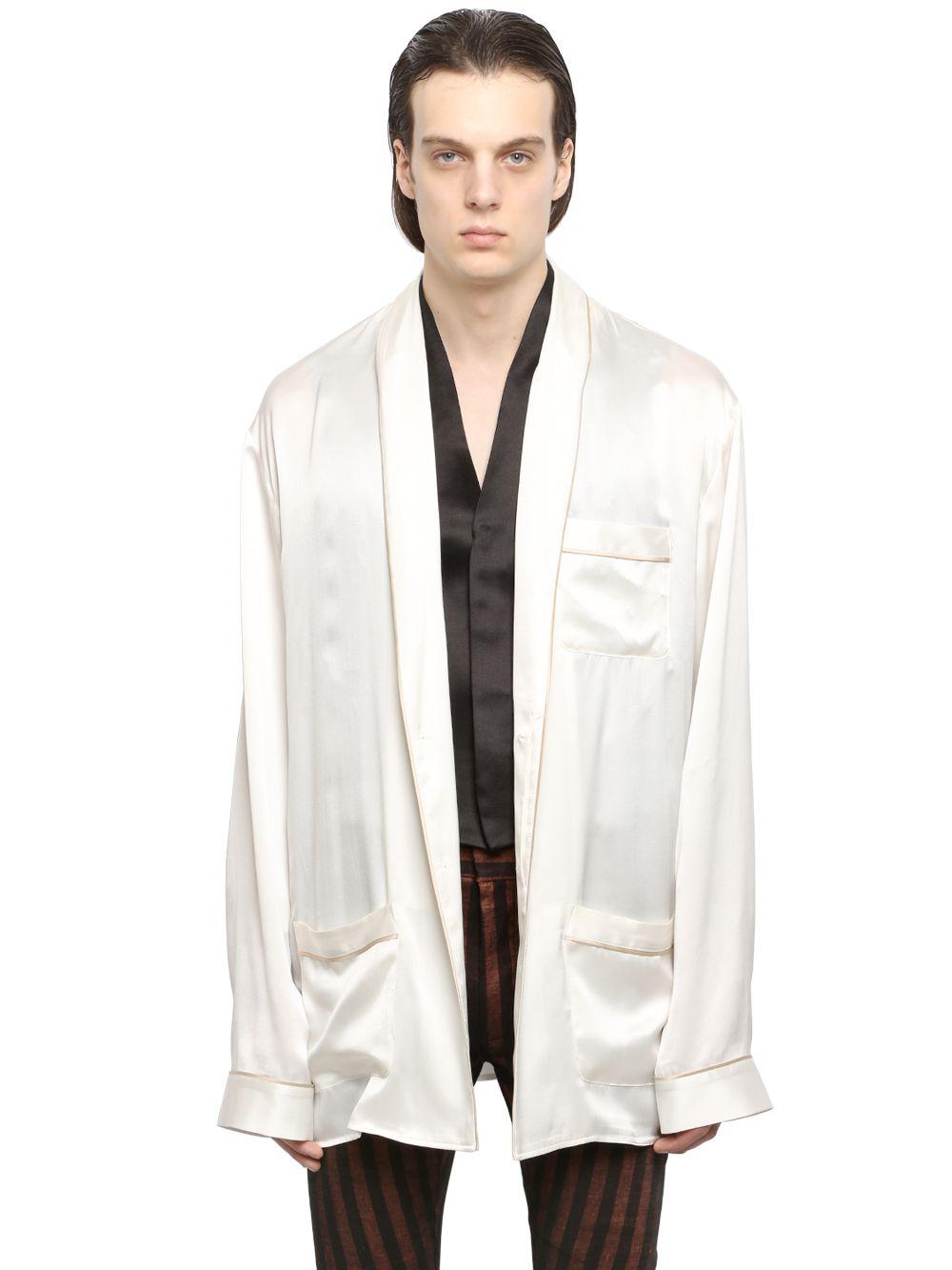 Haider Ackermann Long Silk Shirt With Shawl Lapels In