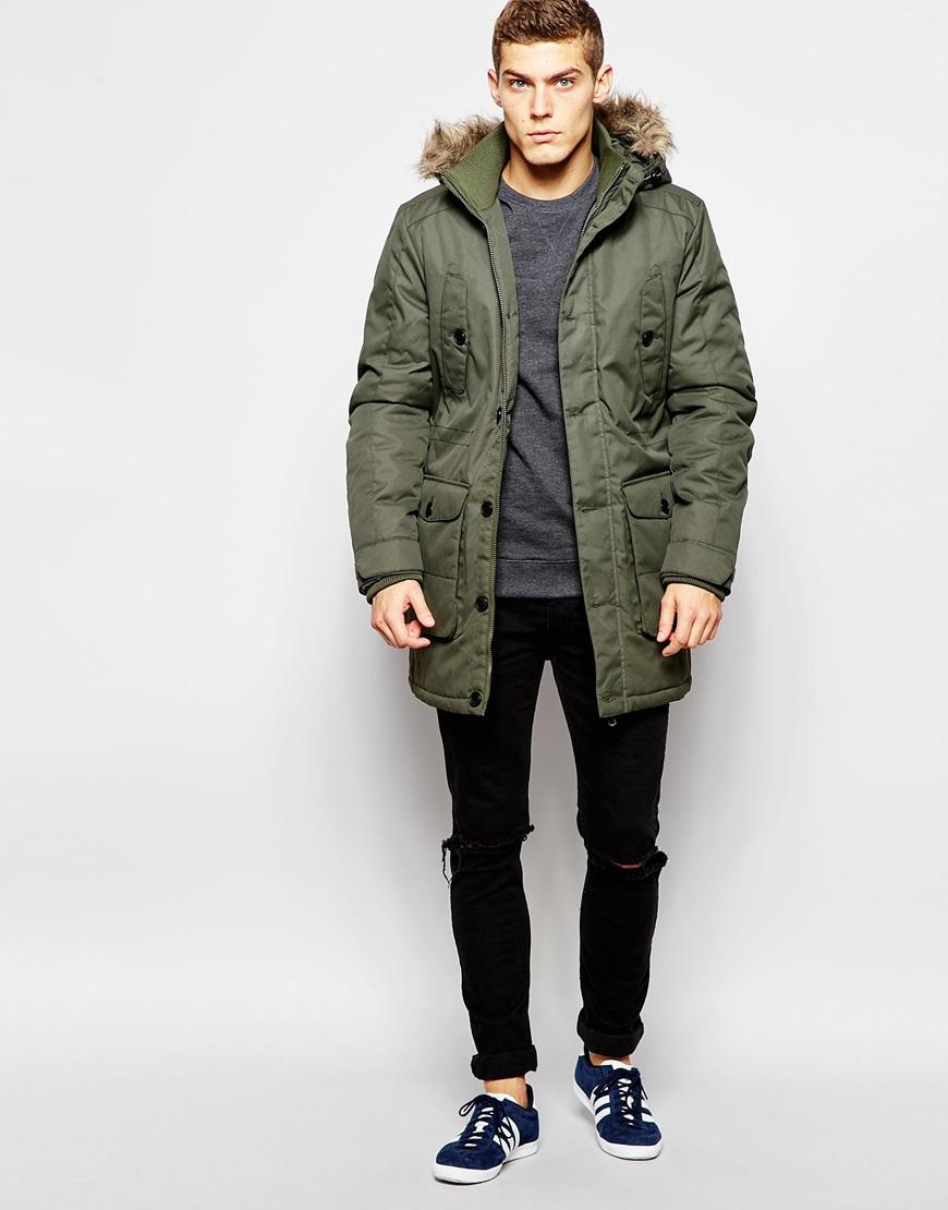 ca82b568c861 Lyst - Jack   Jones Parka With Faux Fur Hood in Green for Men