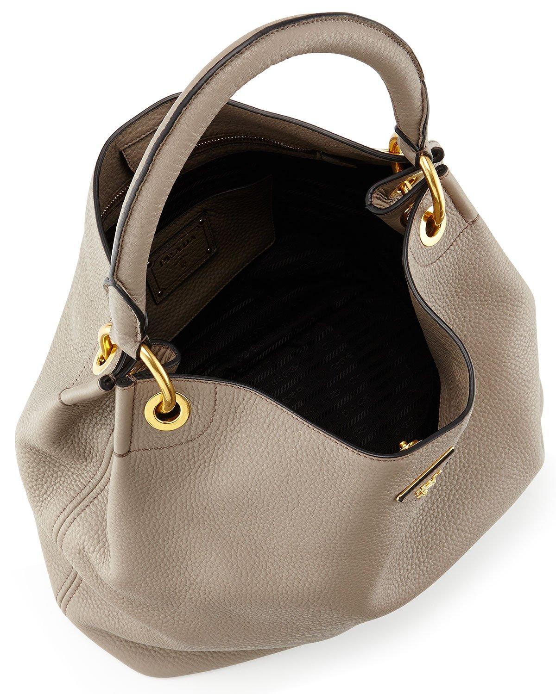 5db126cb472b Prada Vitello Daino Single-strap Hobo Bag in Gray - Lyst