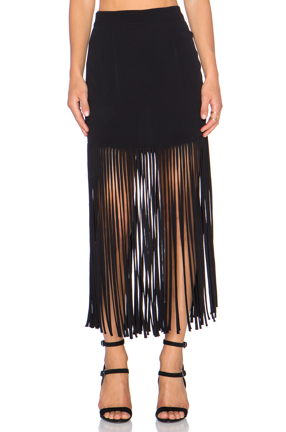Fringe Black Skirt - results from brands Mac Duggal, TERANI, Minnetonka, products like Women's Vega Fringe Skirt, City Chic 'Eyelash Evie' Lace & Chiffon Cocktail Dress (Plus Size), ATM Fringe .