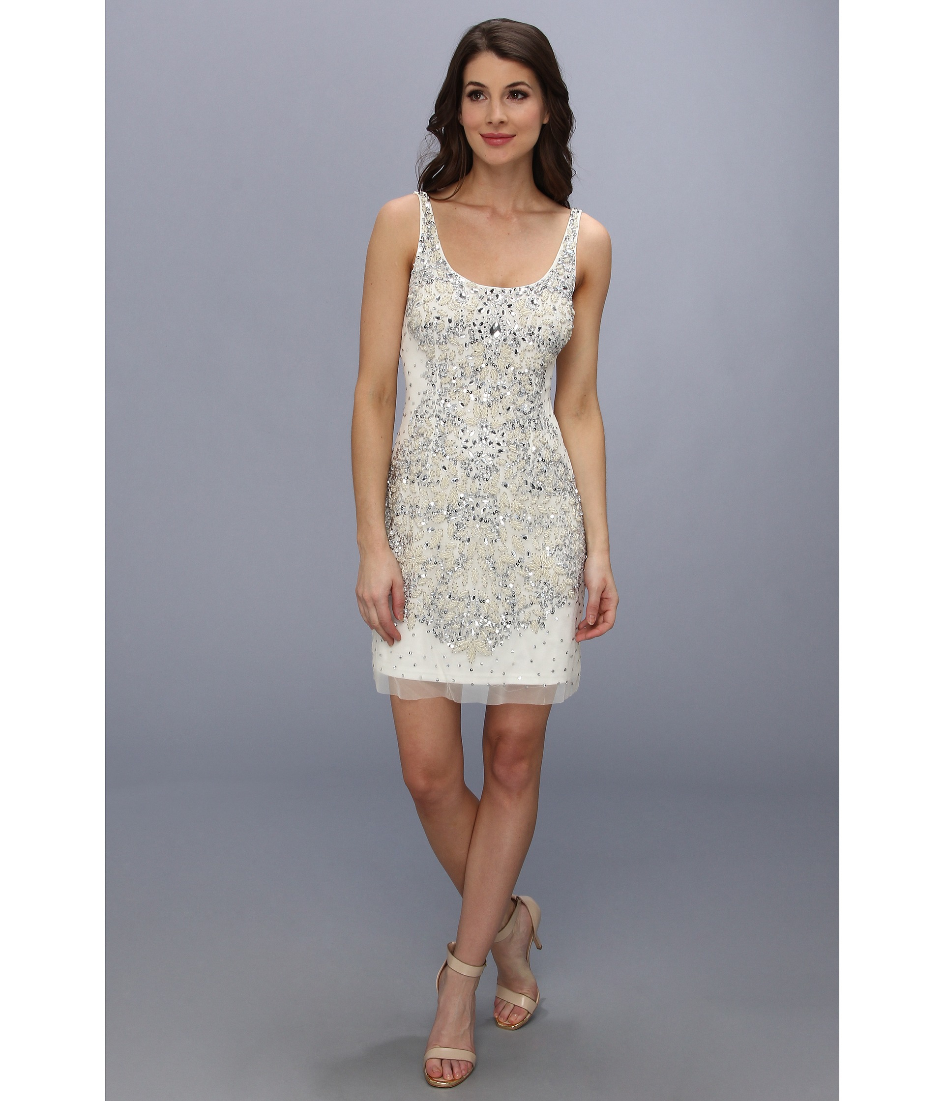 Lyst Adrianna Papell Short Bead Tank Dress In White