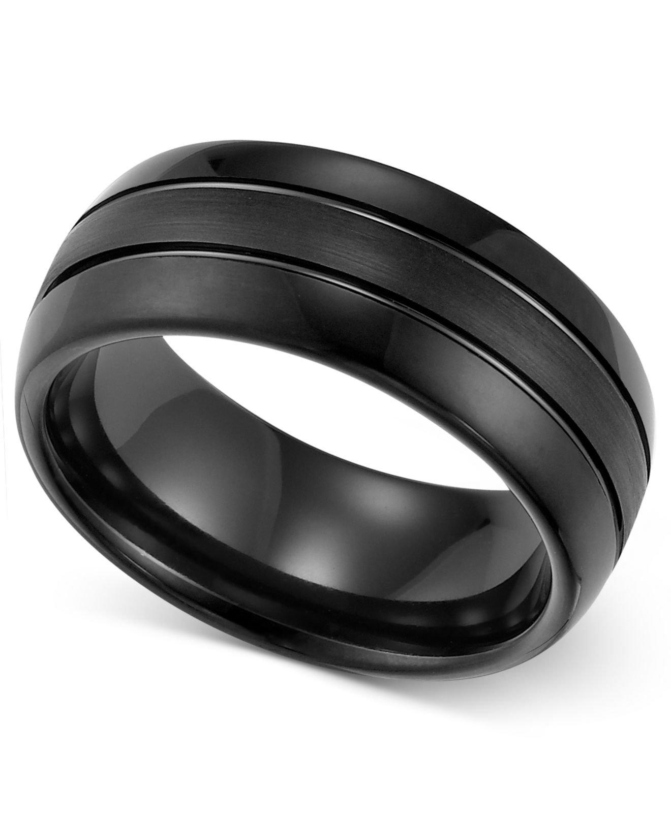 Triton Wedding Band Black Tungsten Carbide 8mm: Triton 8mm Black Tungsten 3-row Wedding Band In Black For