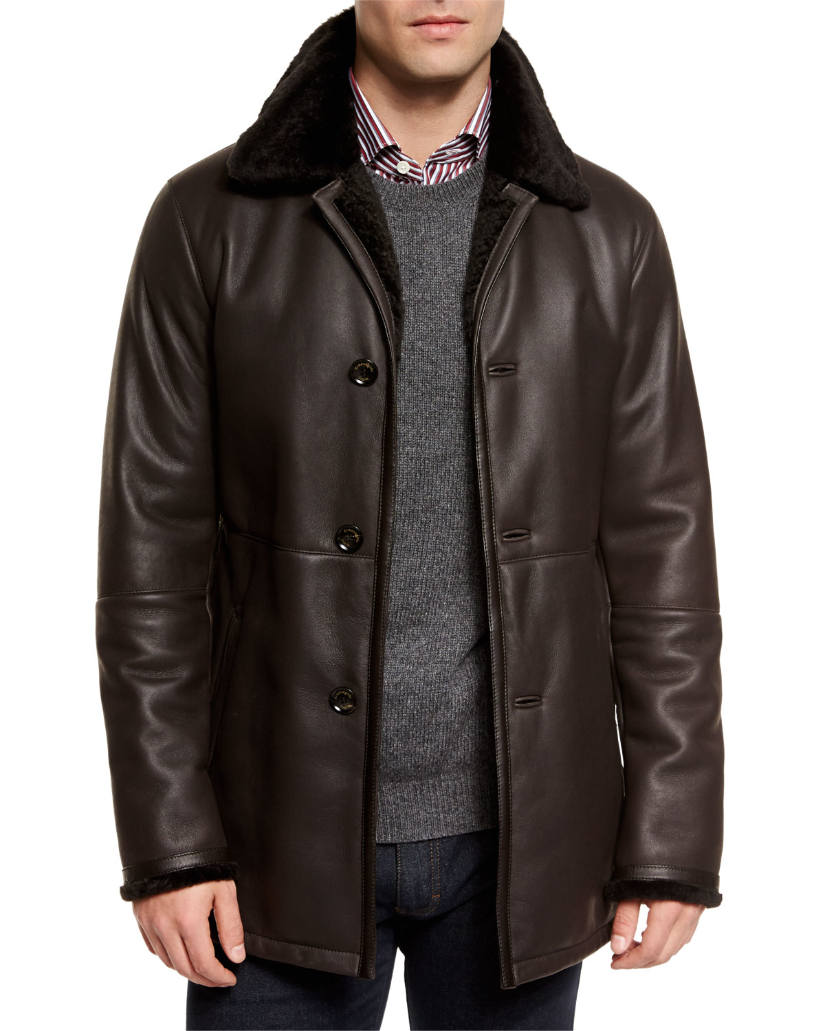 Ermenegildo zegna Leather Jacket With Shearling Fur-lined Collar ...