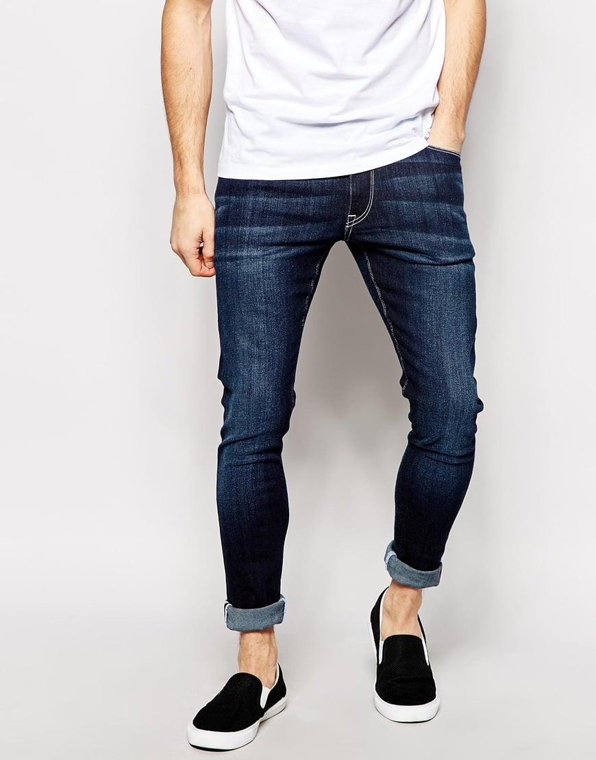 asos extreme super skinny jeans in dark wash in blue for men lyst. Black Bedroom Furniture Sets. Home Design Ideas