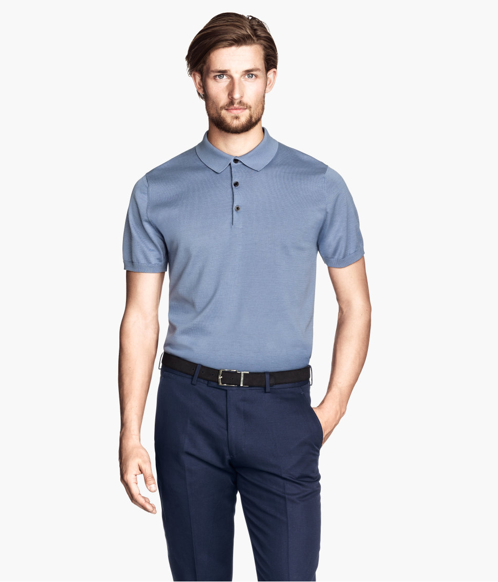 H M Polo Shirt In A Silk Mix In Blue For Men Lyst