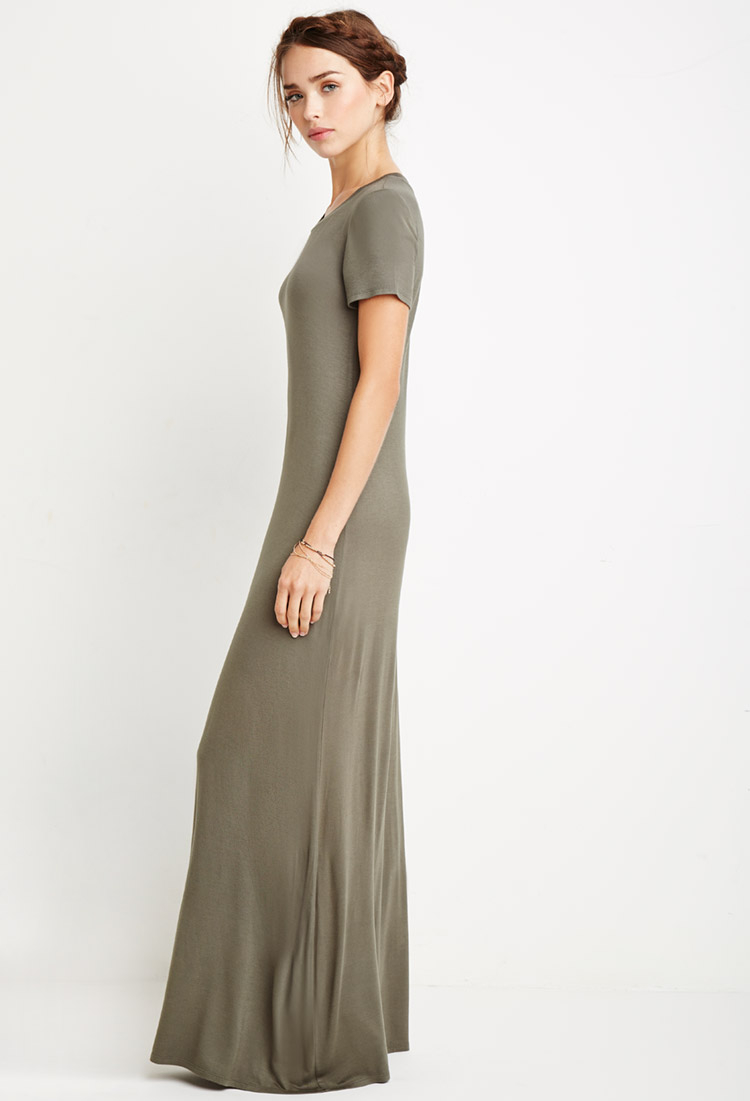 Forever 21 Maxi T-shirt Dress in Green | Lyst