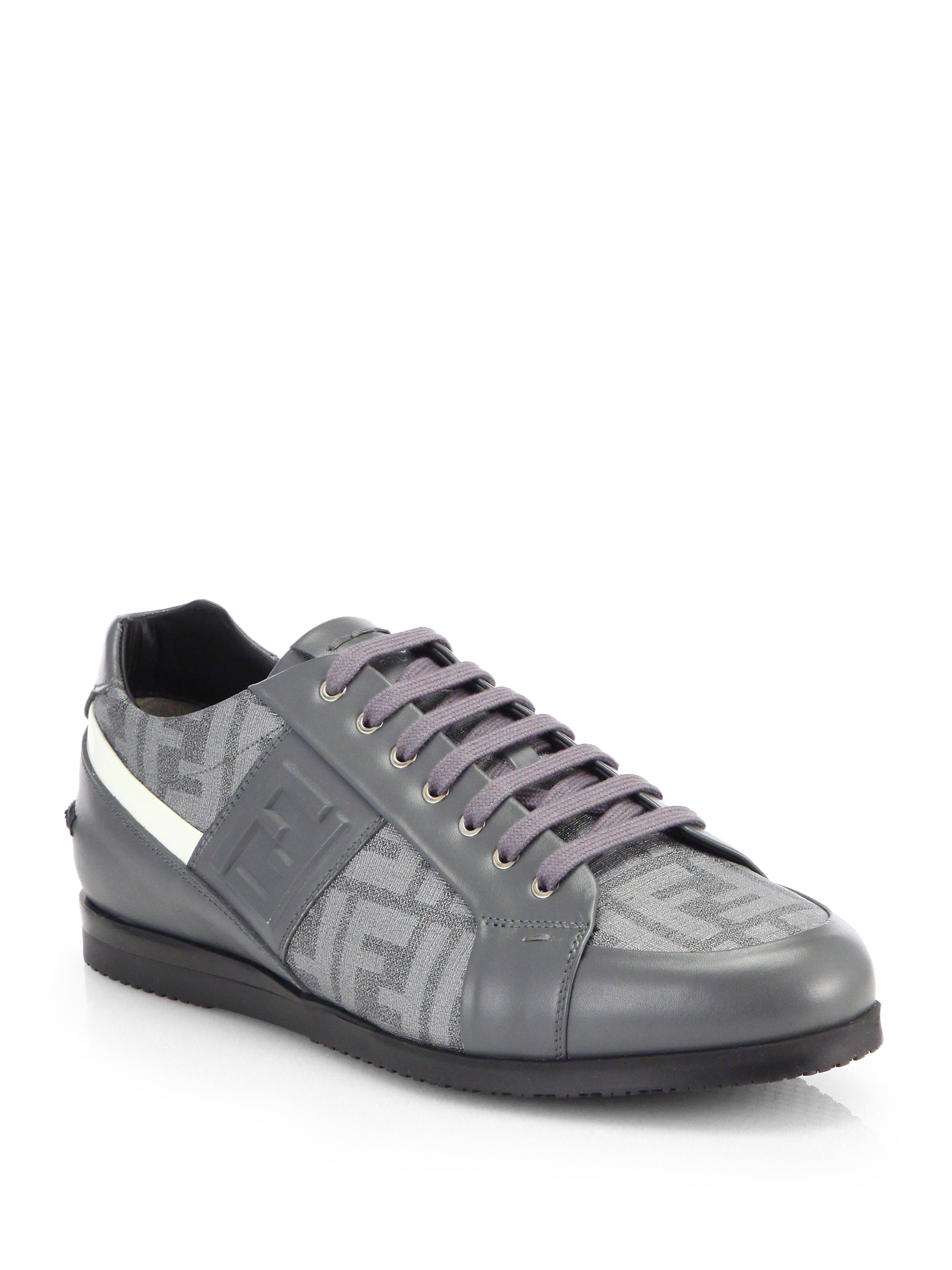 Fendi zucca softy lace up leather sneakers in gray for men for Case a buon mercato in mammoth ca