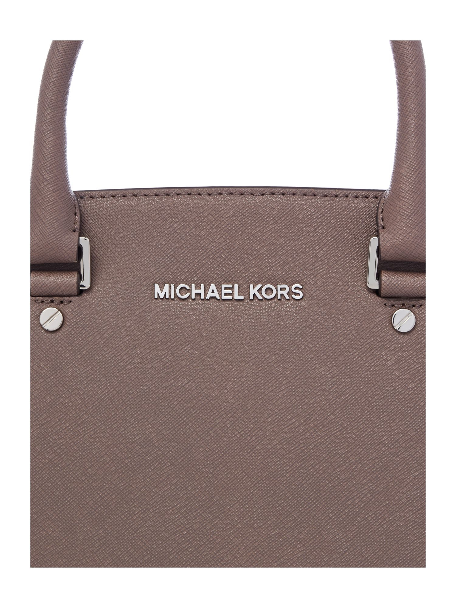 207f30132444 ... saffiano leather bag taupe leather ec62e 14880  coupon lyst michael  kors selma taupe large tote bag in gray c1a8b 777e3