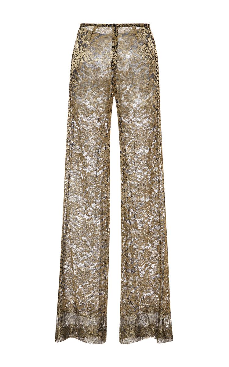 Roberto cavalli Metallic Lace Wide Leg Pants in Brown | Lyst