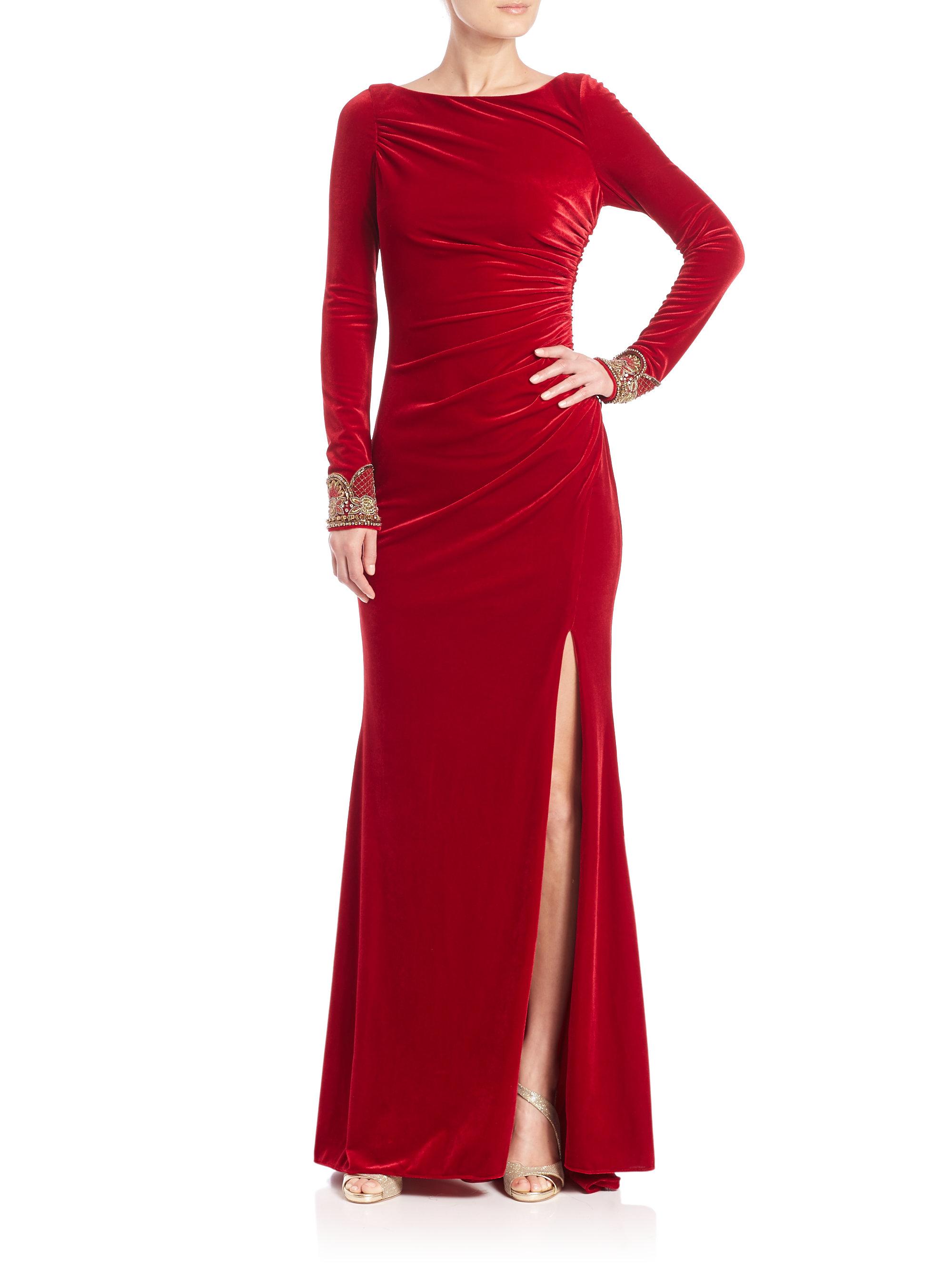 Lyst Badgley Mischka Embellished Velvet Gown In Red