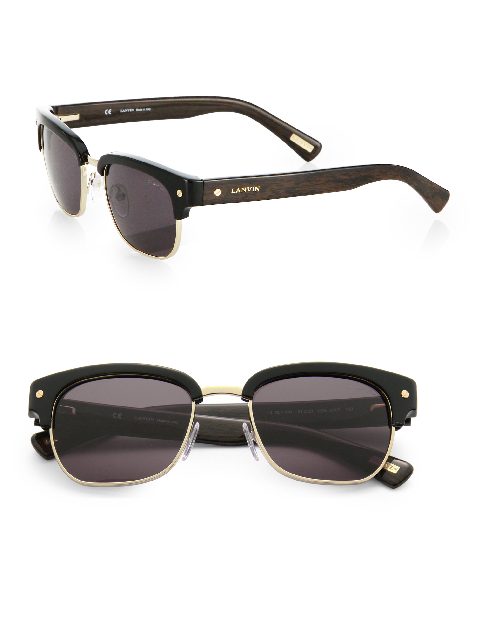 all black clubmaster sunglasses  Lanvin 51Mm Clubmaster Sunglasses in Black for Men