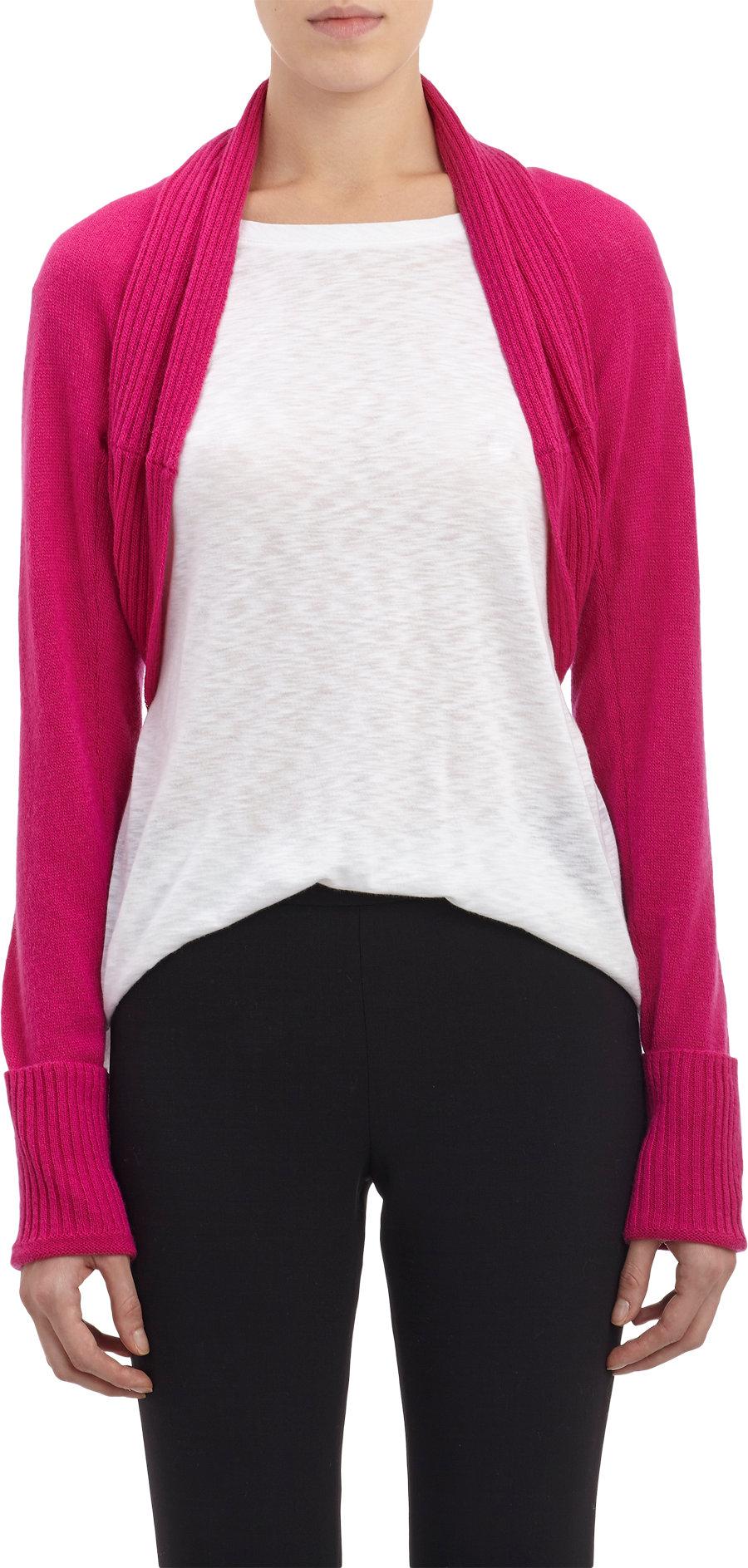 Long Sleeved Shrug Knitting Pattern : Barneys new york Chunky Rib-Knit Long-Sleeve Shrug in Pink Lyst