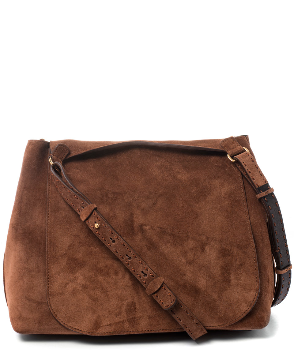 407457a4bf The Row Tan Sideby Suede Saddle Bag in Brown - Lyst
