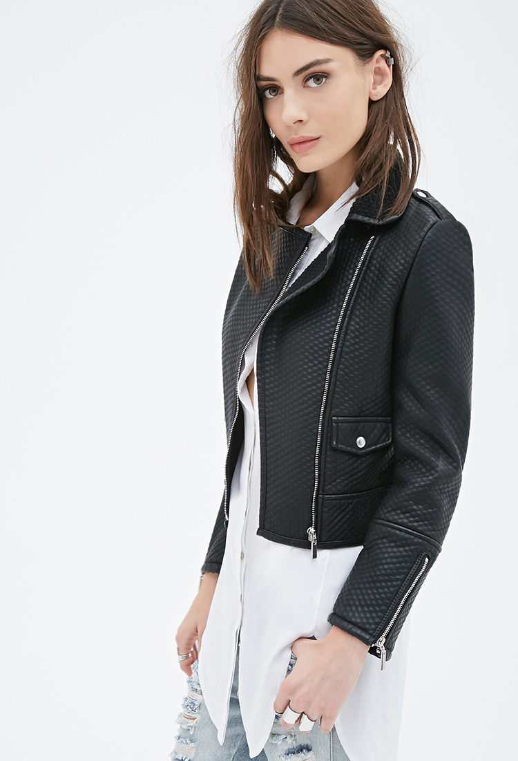 6573a515245 Forever 21 Textured Faux Leather Moto Jacket in Black - Lyst