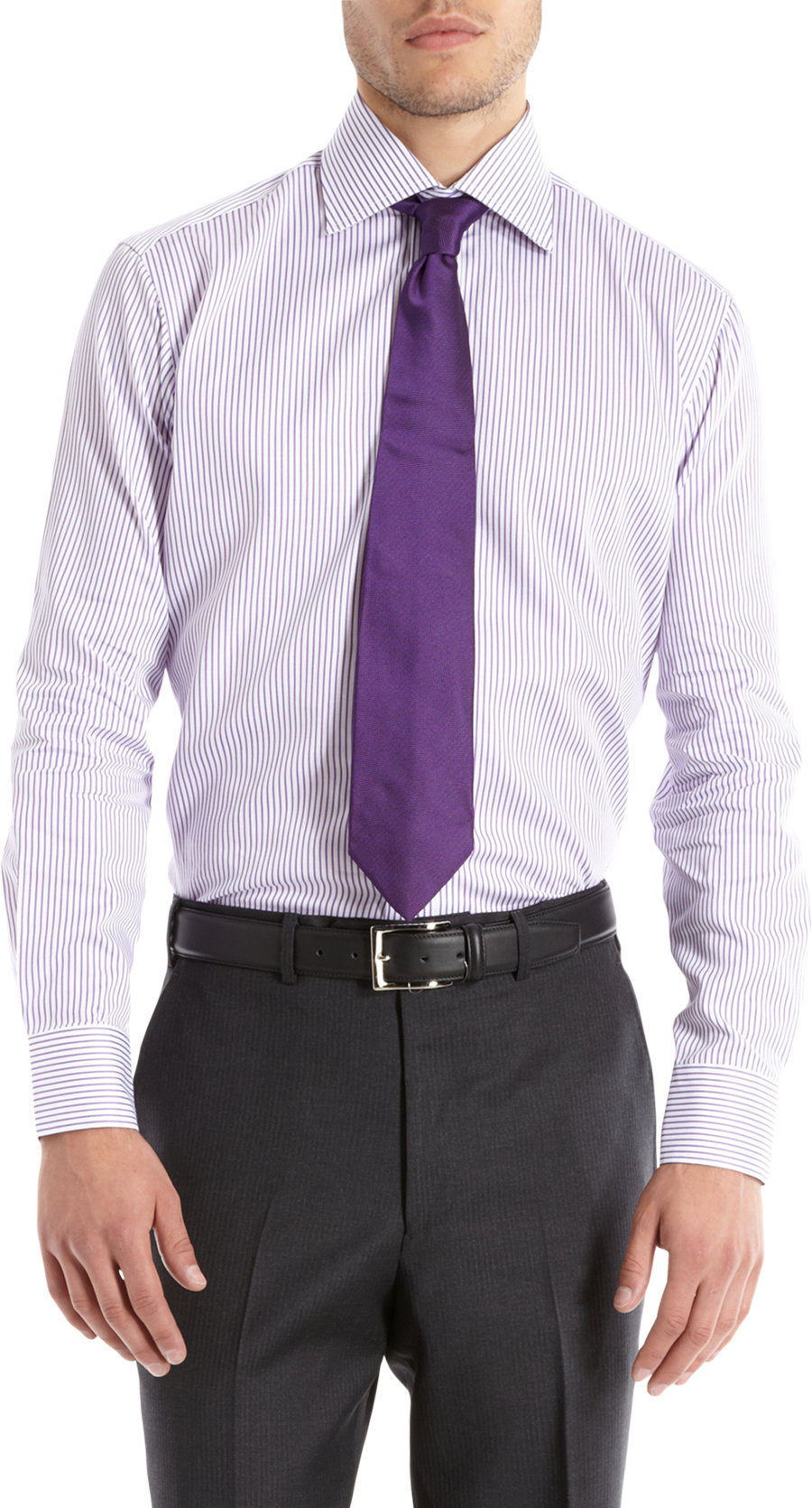 Lyst piattelli men 39 s trim fit striped dress shirt in for Purple striped dress shirt