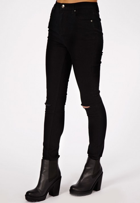 Missguided Edie High Waist Ripped Knee Skinny Jeans In Matte Black ...