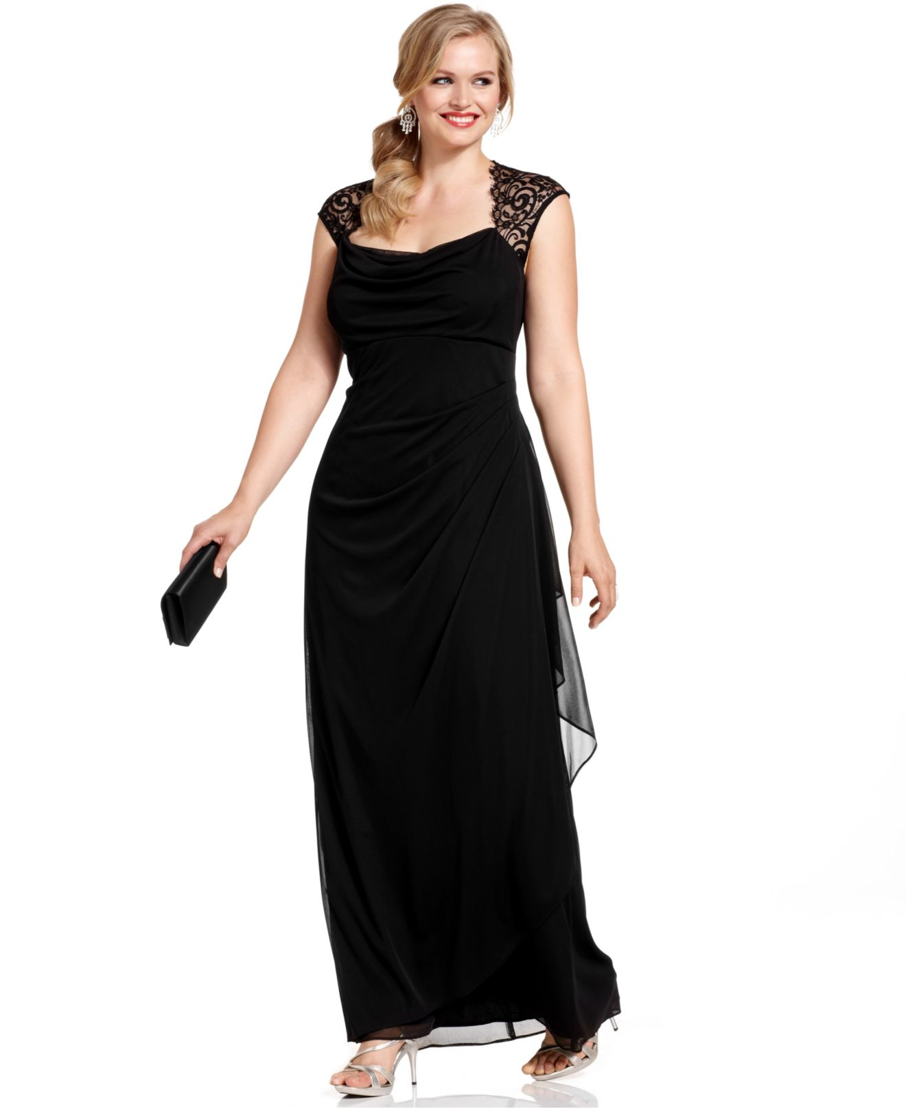 Xscape Plus Size Dress, Cap-Sleeve Lace Ruffled Gown in Black | Lyst
