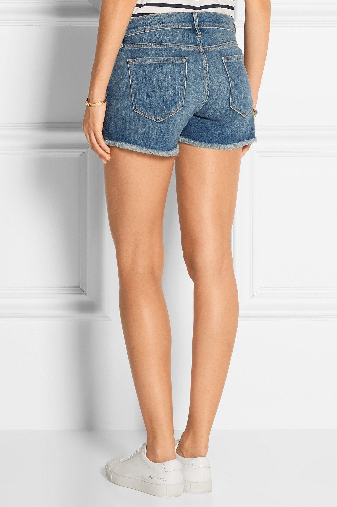 Le Cutoff Frayed Denim Shorts - Mid denim Frame Denim 8a8v5