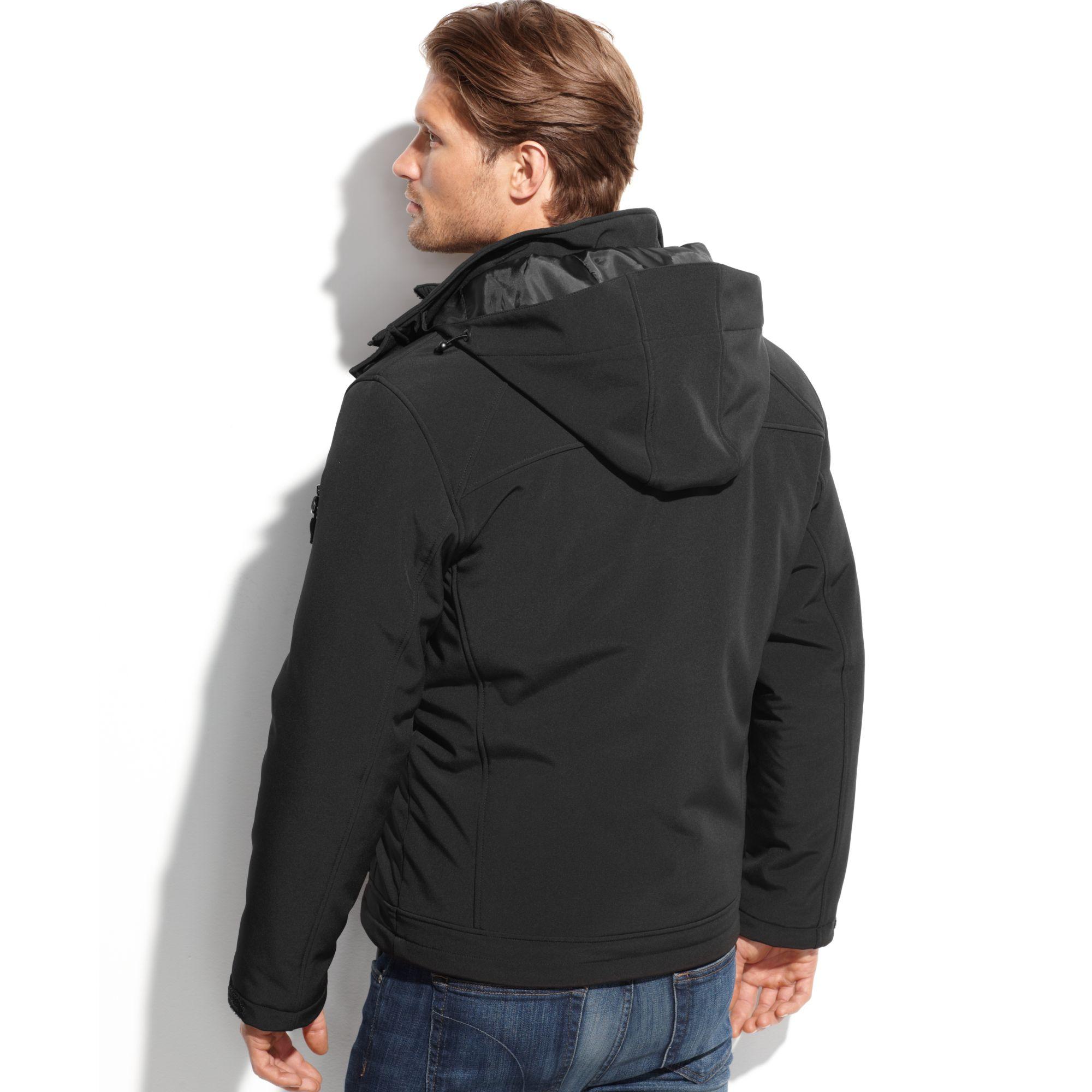 lyst calvin klein 3in1 systems softshell jacket in black. Black Bedroom Furniture Sets. Home Design Ideas