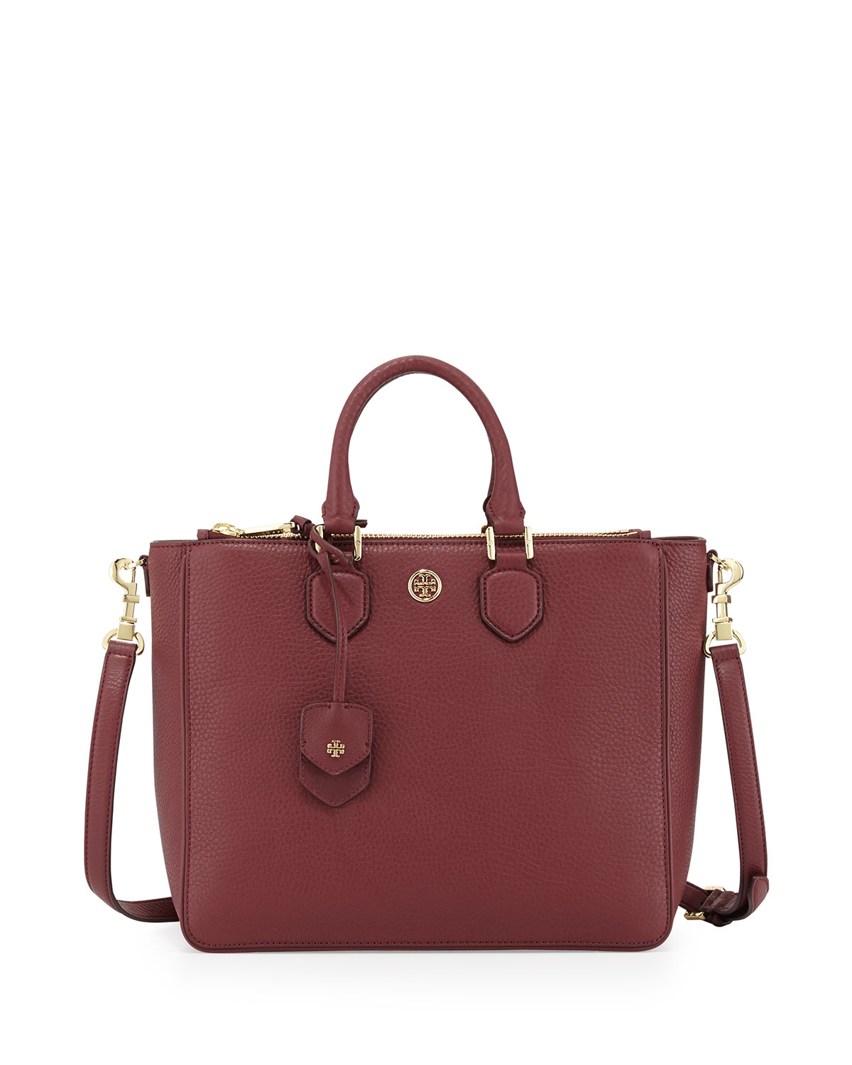 Tory Burch Robinson Pebbled Square Tote Bag Deep Berry In
