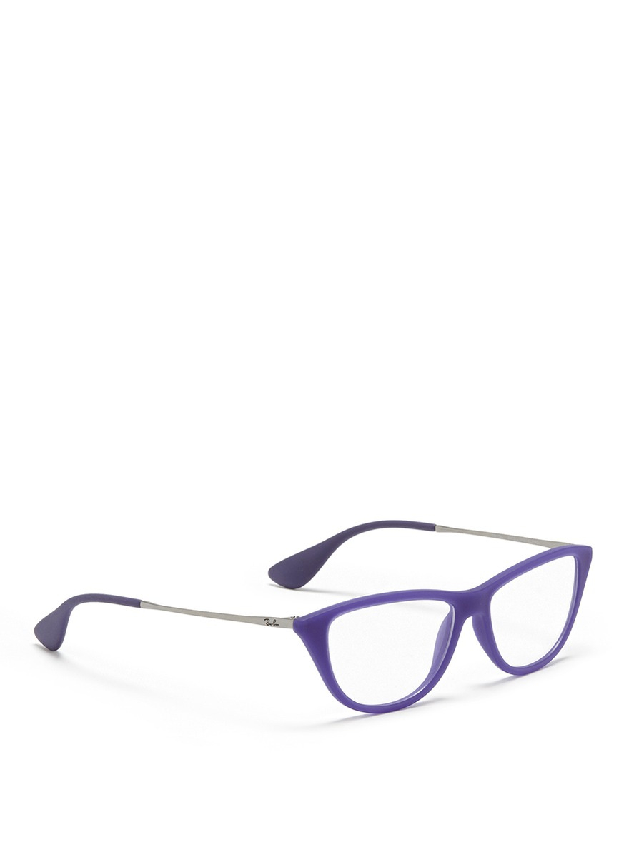 0f306356bd Lyst - Ray-Ban Rubber Acetate Cat Eye Optical Glasses in Purple