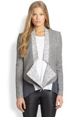BCBGMAXAZRIA Waterfall Cascadefront Tweed Jacket