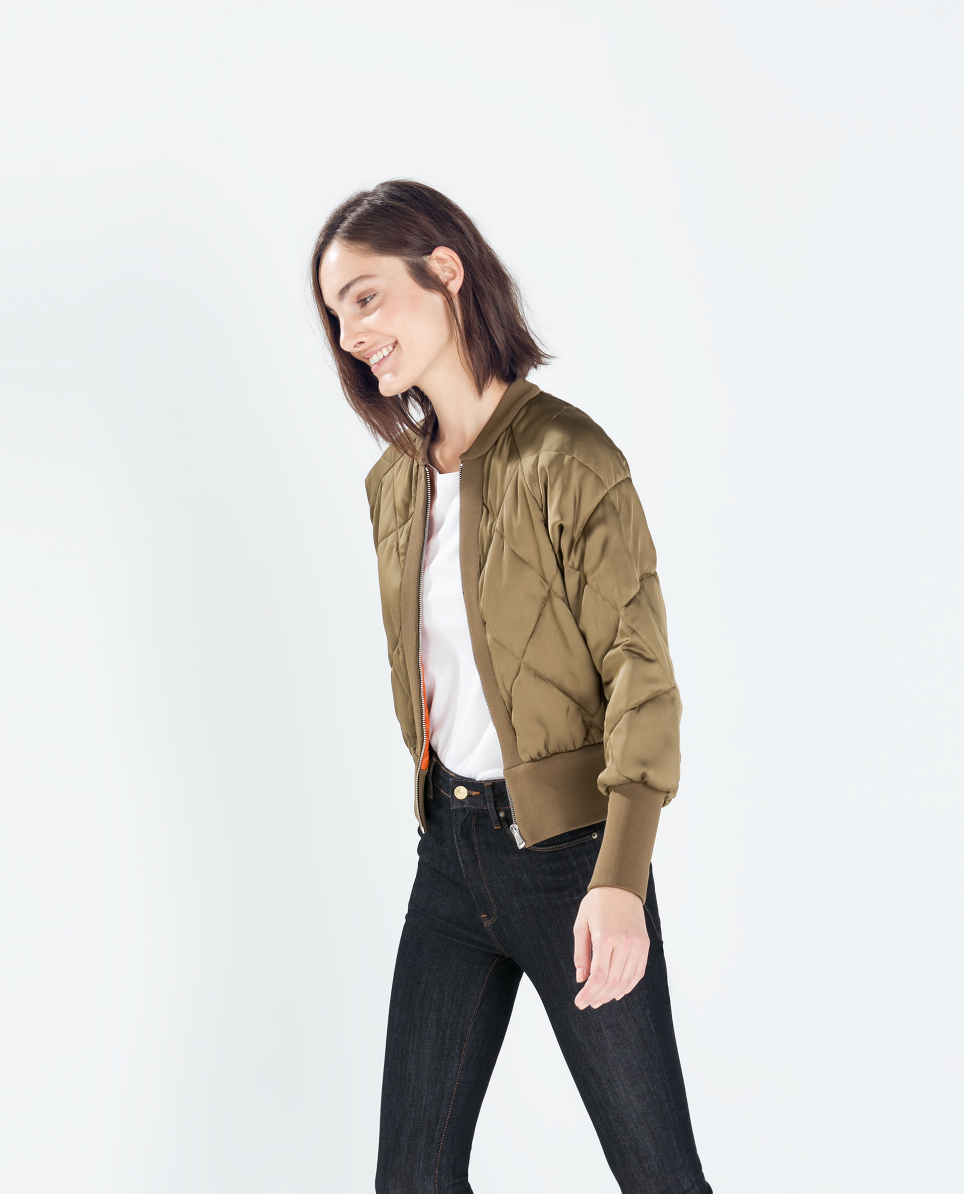 Zara Cropped Quilted Bomber Jacket In Natural | Lyst