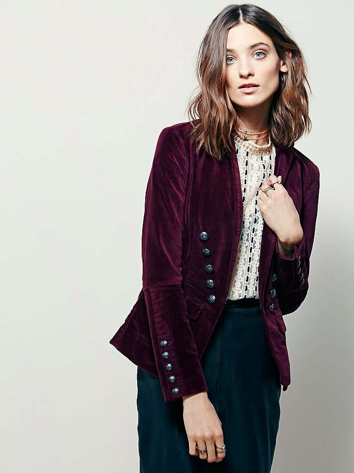 Lyst Free People Womens Structured Velvet Blazer In Red