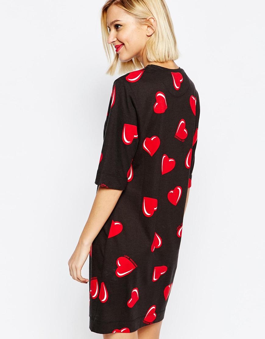 Love Moschino Shortsleeve Dress In Heart Print In Black Lyst