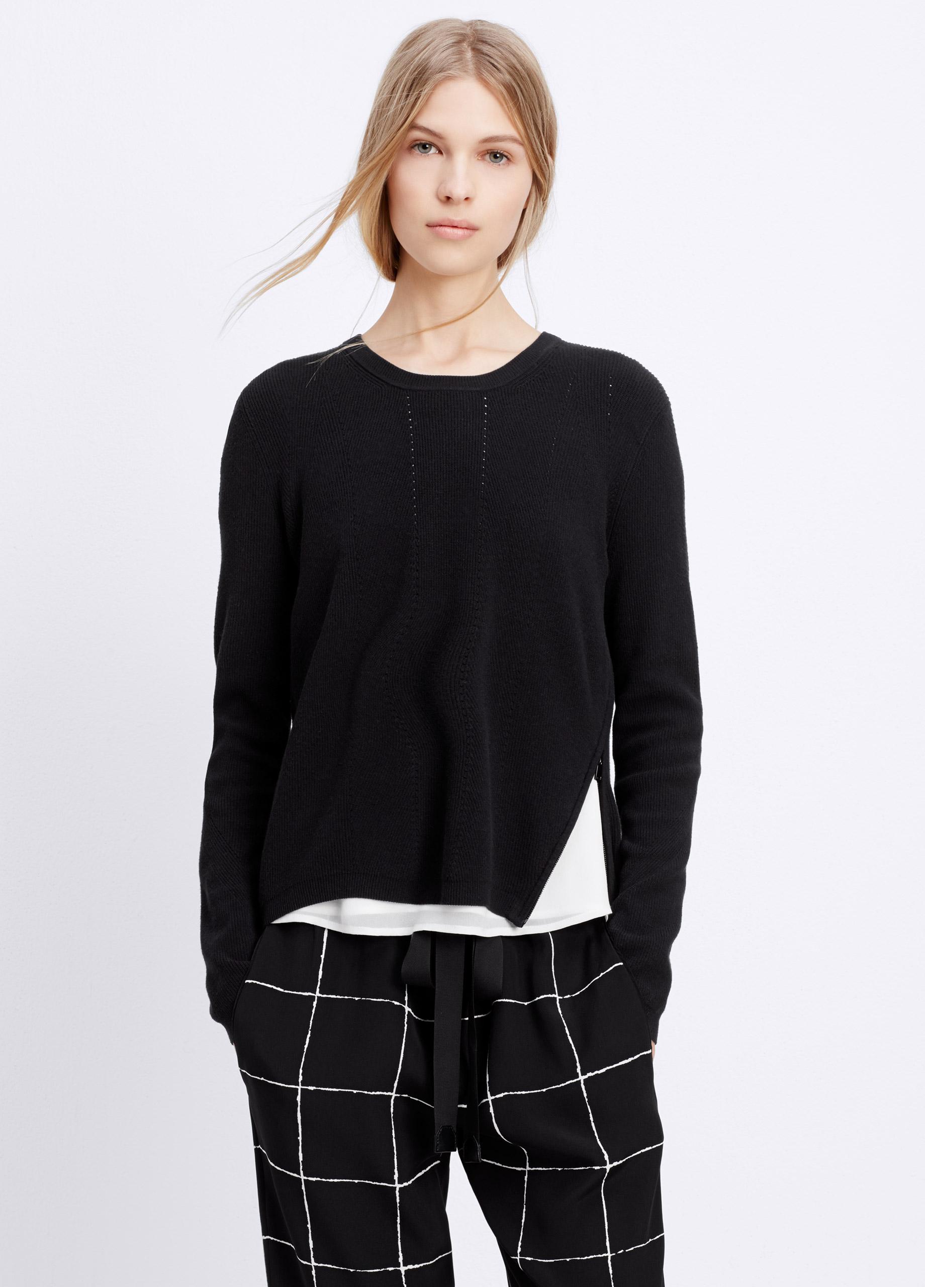Lyst Vince Side Zip Crew Neck Sweater In Black