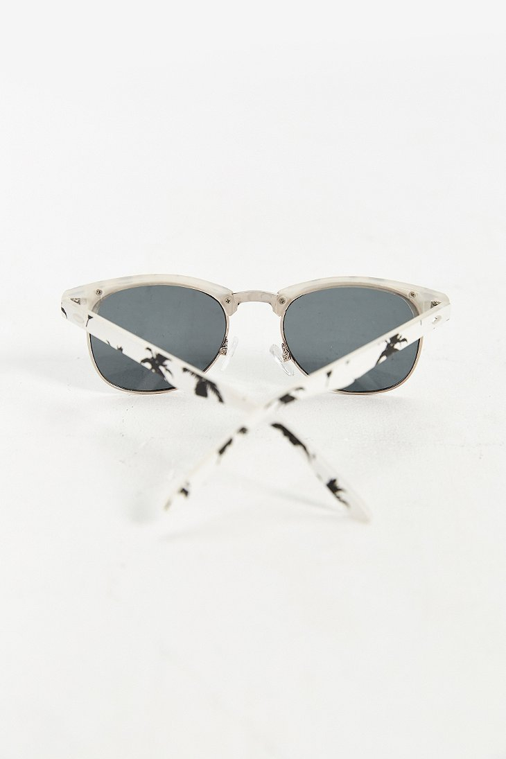 5faaf07ee3 Urban Outfitters Palm Tree Half-frame Sunglasses in White for Men - Lyst