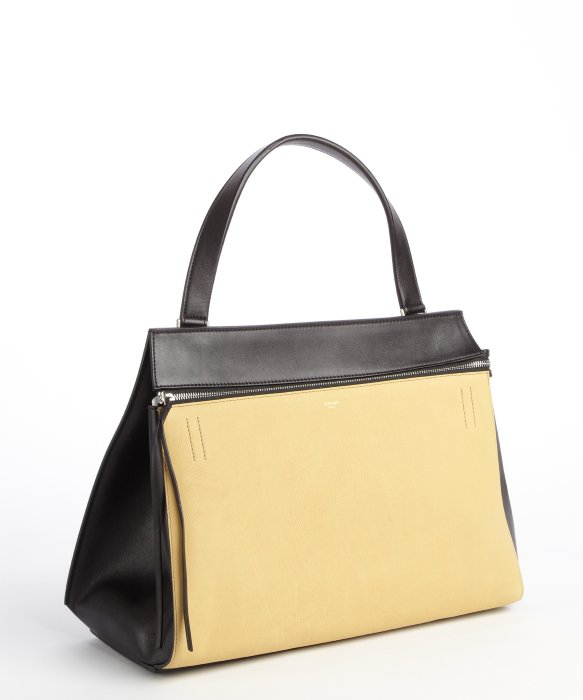C¨¦line Beige and Black Edge Supple Calfskin Leather Bag in Black ...