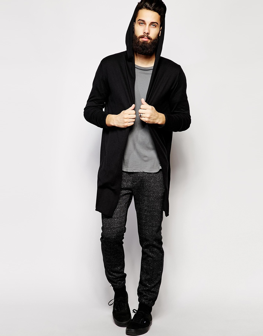 Asos Super Longline Hooded Cardigan in Black for Men | Lyst